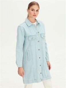 %100 Pamuk Orta Ceket Uzun Jean Ceket