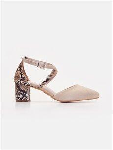 Bej Kadın Yılan Derisi Görünümlü Topuklu Ayakkabı 9SY592Z8 LC Waikiki