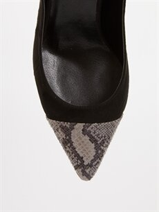 LC Waikiki Siyah Kadın Yılan Derisi Görünümlü Topuklu Ayakkabı
