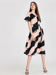 %100 Viskoz Diz Altı Desenli Kısa Kol Batik Desenli Viskon Gömlek Elbise