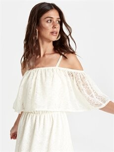 %100 Polyester Danteli Fırfırlı Elbise