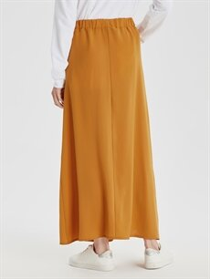 Kadın Beli Lastikli Uzun Etek