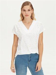 %100 Pamuk Standart Baskılı Kısa Kol Tişört V yaka Işıltılı Baskılı Pamuklu Tişört