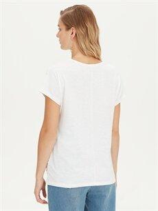 Kadın Işıltılı Baskılı Pamuklu Tişört