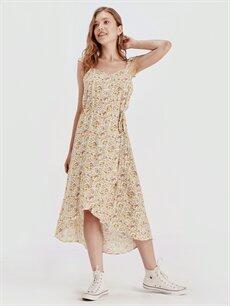 %100 Viskoz Diz Altı Desenli Kolsuz Desenli Asimetrik Viskon Elbise