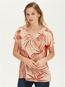 Kahverengi Çiçek Desenli Viskon Bluz 9SY864Z8 LC Waikiki