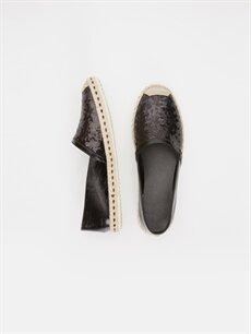 Diğer malzeme (poliüretan) Tekstil malzemeleri  Kadın Parlak Espadril Ayakkabı