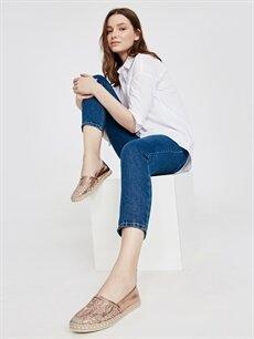 Sarı Kadın Parlak Espadril Ayakkabı