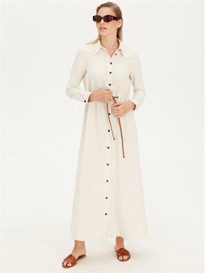 Kemerli Twill Uzun Gömlek Elbise - LC WAIKIKI