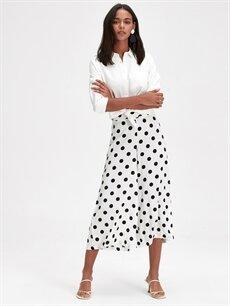 %100 Viskoz Standart Normal Bel Geniş Paça Lastikli Bel Pantolon Kısa Paça Puantiyeli Pantolon