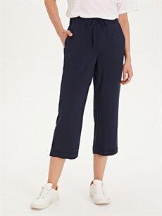 %100 Viskoz Yüksek Bel Esnek olmayan Standart Lastikli Bel Pantolon Beli Lastikli Kısa Paça Pantolon