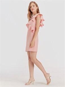 %86 Polyester %14 Elastan Diz Üstü Düz Kolsuz Fırfır Detaylı Mini Elbise