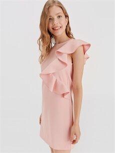 Kadın Fırfır Detaylı Mini Elbise