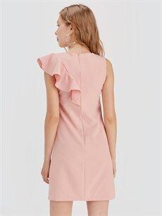 %86 Polyester %14 Elastan Fırfır Detaylı Mini Elbise