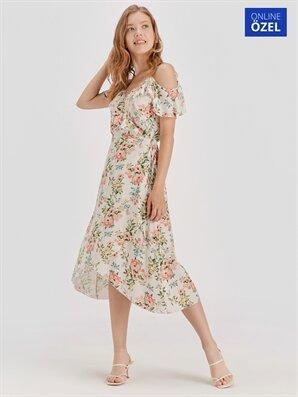 Omuzları Açık Çiçek Desenli Viskon Elbise - LC WAIKIKI
