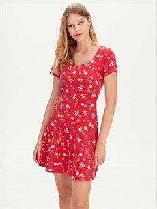%100 Pamuk Diz Üstü Desenli Kısa Kol Çiçek Desenli Mini Viskon Elbise