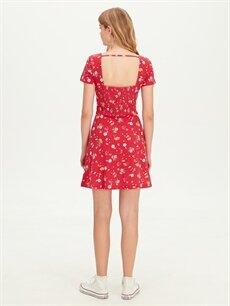 %100 Pamuk Çiçek Desenli Mini Viskon Elbise
