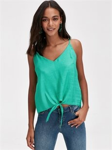 Yeşil Beli Bağlama Detaylı Viskon Bluz 9SB799Z8 LC Waikiki