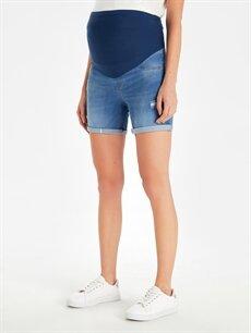 %98 Pamuk %2 Elastan Spor Giyim Hamile Jean Şort