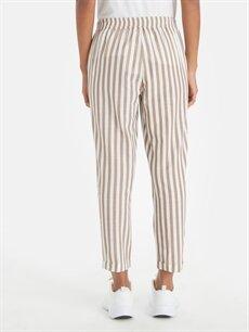 Kadın Beli Lastikli Çizgili Havuç Pantolon