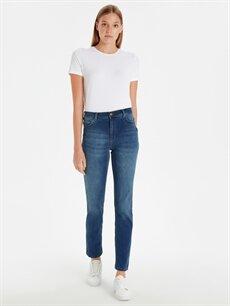 İndigo Yüksek Bel Slim Jean Pantolon 9SC064Z8 LC Waikiki