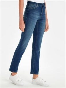 %98 Pamuk %2 Elastan Yüksek Bel Standart Esnek Jean Yüksek Bel Slim Jean Pantolon