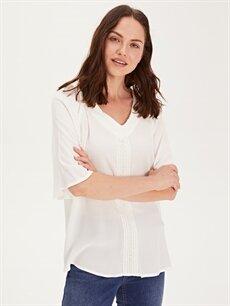 %100 Viskoz  Dantel Detaylı Viskon Bluz