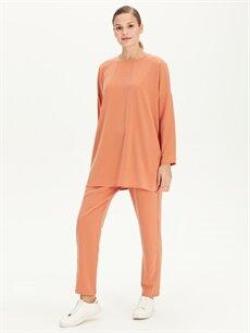%100 Polyester Havuç Normal Bel Lastikli Bel Pantolon Beli Lastikli Havuç Pantolon