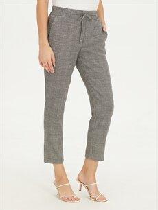 %64 Polyester %3 Elastan %33 Viskoz Havuç Normal Bel Lastikli Bel Pantolon Beli Lastikli Bilek Boy Ekose Havuç Pantolon