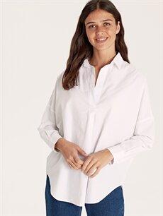 Beyaz Pamuklu Düz Poplin Bluz 9SC982Z8 LC Waikiki