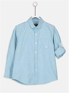 Turkuaz Erkek Çocuk Uzun Kollu Oxford Gömlek 9S0388Z4 LC Waikiki