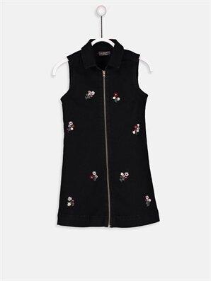 Kız Çocuk Çiçek Nakışlı Jean Elbise -9S0850Z4-326