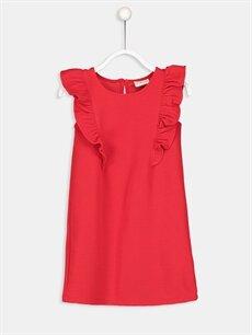 Kırmızı Fırfır Detaylı Pamuklu Örme Elbise 9S1053Z4 LC Waikiki