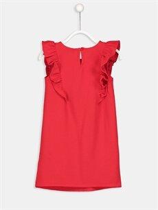 %96 Pamuk %4 Elastan Diz Üstü Düz Fırfır Detaylı Pamuklu Örme Elbise