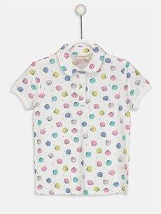 Beyaz Kız Çocuk Baskılı Polo Yaka Tişört 9S2898Z4 LC Waikiki