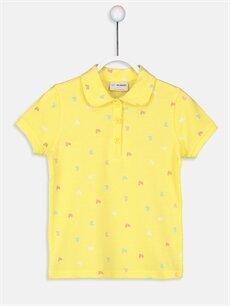 Sarı Kız Çocuk Baskılı Polo Yaka Tişört 9S2898Z4 LC Waikiki