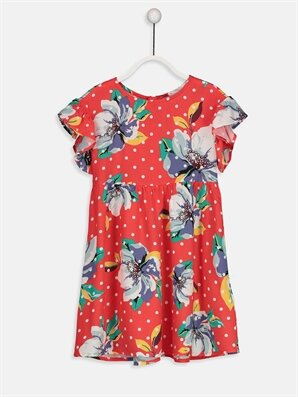 Kız Çocuk Çiçekli Viskon Elbise -9S4171Z4-LTQ