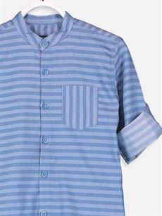 %68 Pamuk %32 Polyester Erkek Çocuk Çizgili Twill Gömlek