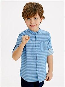 LC Waikiki Mavi Erkek Çocuk Çizgili Twill Gömlek