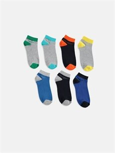 %68 Pamuk %7 Polyester %23 Poliamid %2 Elastan  Erkek Çocuk Patik Çorap 7'li