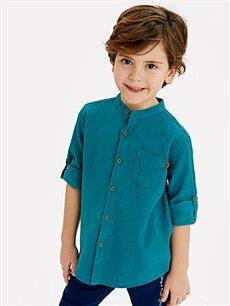 LC Waikiki Turkuaz Erkek Çocuk Uzun Kollu Armürlü Gömlek