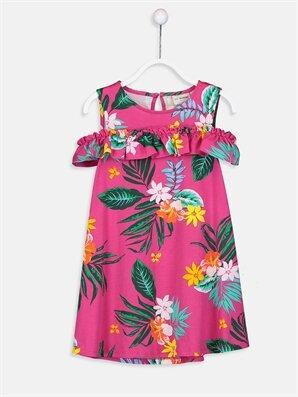 Kız Çocuk Çiçekli Omuzu Açık Örme Elbise - LC WAIKIKI