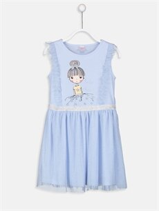 Mavi Kız Çocuk Fırfırlı Tüllü Gecelik 9S4904Z4 LC Waikiki