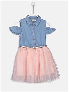 İndigo Kız Çocuk Omuzu Açık Tütü Elbise ve Kemer 9S5745Z4 LC Waikiki
