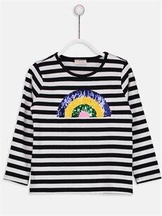 %100 Pamuk Standart Tişört Çizgili Uzun Kol Bisiklet Yaka Kız Çocuk Çift Yönlü Payetli Pamuklu Tişört