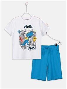 Beyaz Erkek Çocuk Baskılı Tişört ve Şort 9S8281Z4 LC Waikiki