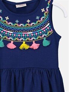 Kız Çocuk Kız Çocuk Desenli Püskül Detaylı Elbise