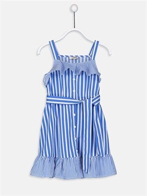Kız Çocuk Çizgili Poplin Elbise -9S9317Z4-LEN