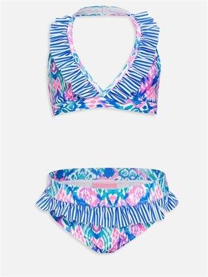 Kız Çocuk Desenli Fırfırlı Bikini - LC WAIKIKI