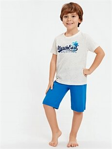 LC Waikiki Ekru Erkek Çocuk Kısa Kollu Pamuklu Pijama Takımı